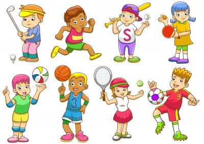 Students playing sports cartoon